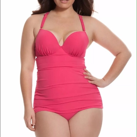949fdc3d05 Cacique Other - Swim by Cacique Pink strappy tankini Top 40DD